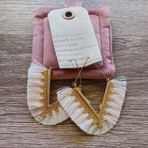 NWT Anthropologie White Tassels Hoop Earrings